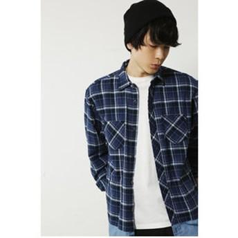 【AZUL by moussy:トップス】【MEN'S】先染チェック裾デニム切替長袖BIGシャツ