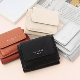 手のひらサイズでも高性能 星の型押しがシンプル可愛いプチウォレット ミニ財布 チェック柄 3つ折り レディース 財布