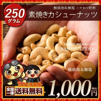 カシューナッツ 250g ロースト 【送料無料】 [無添加 無塩 素焼き カシュー ナッツ インド産 カリっと香ばしい]
