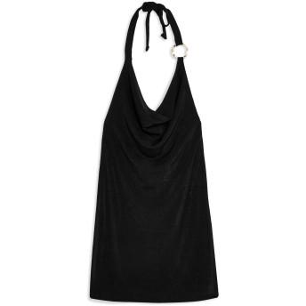 《9/20まで! 限定セール開催中》TOPSHOP レディース ミニワンピース&ドレス ブラック 6 ポリエステル 97% / ポリウレタン 3% SLINKY HALTER NECK MINI DRESS