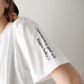 【手刺繍 】受注制作 今日何かいいことがありますように Tシャツ 5.6oz ユニセックス プレゼントにも!