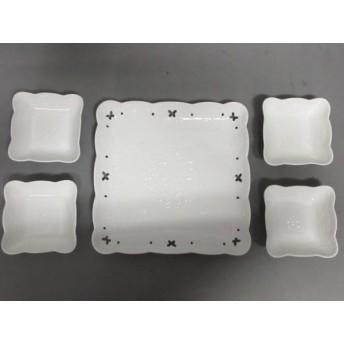 【中古】 ハナエモリ HANAE MORI プレート 新品同様 白 プレート 1/小皿 4 陶器
