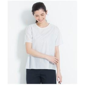 自由区 【洗える】STRIPE JERSEY カットソー Tシャツ・カットソー,ホワイト系1