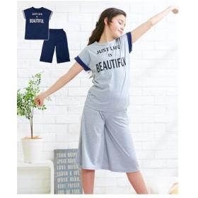 パジャマ キッズ プリント 半袖 Tシャツ +フレア パンツ 上下セット 女の子 子供服・ジュニア服  身長140/150/160cm ニッセン
