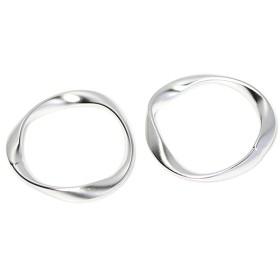 新作【2個入り】大ぶりメビウスの輪〜約23mmマットシルバーチャーム、パーツ