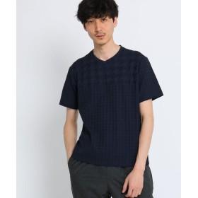 TAKEO KIKUCHI(タケオキクチ) ドライタッチ コットン リンクスパネル Vネック Tシャツ