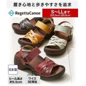 RegettaCanoe サンダル レディース リゲッタカヌー ツートンミドルヒール CJBK-9002 年中 靴 22.0〜22.5/23.0〜23.5/24.0〜24.5/25.0〜25.5cm ニッセン