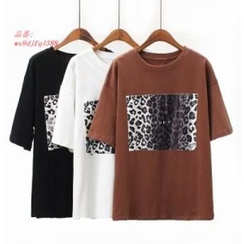 ファッションブラックホワイト tシャツ韓国服アニマル柄 tシャツ半袖ヴォーグカジュアルトップ tシャツ女性シャツ