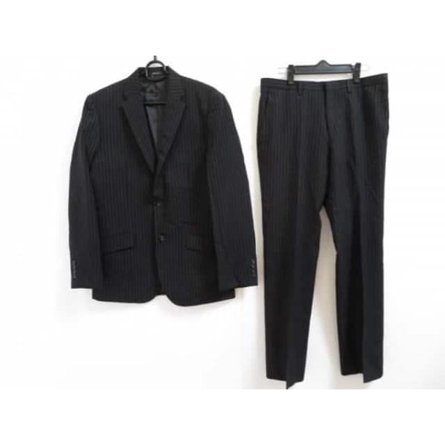 【中古】 コムサイズム COMME CA ISM シングルスーツ サイズL メンズ 美品 黒 グレー ストライプ