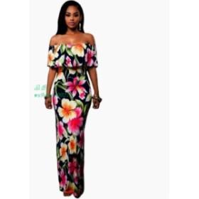 女性自由奔放に生きるマキシドレス2019新しい春夏スタイルで肩フリル印刷ロングドレス女性 床長さドレス