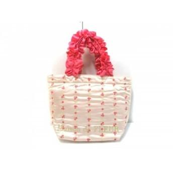 【中古】 メゾンドフルール トートバッグ 美品 ピンク ライトグリーン 花柄/フリル ナイロンポリエステル