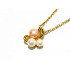【中古】 タサキシンジュ 田崎真珠 ネックレス K18YG フェイクパール 白 ピンク