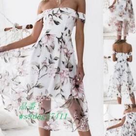 女性エレガントなフラワープリント背中ドレスセクシーなオフショルダー夏ロングドレスファッションカジュアルパーティードレス vestidos