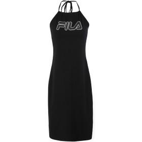 《期間限定セール開催中!》FILA HERITAGE レディース ひざ丈ワンピース ブラック XS コットン 93% / ポリウレタン 7% WOMEN AMINA NECKHOLDER DRESS