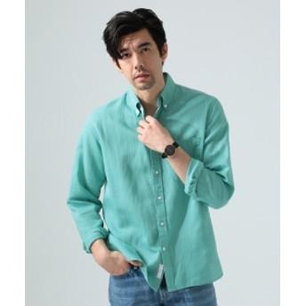 BEAMS LIGHTS / COOLMAX(R) リネンコットン ボタンダウンシャツ メンズ ドレスシャツ MODREN GREEN XL