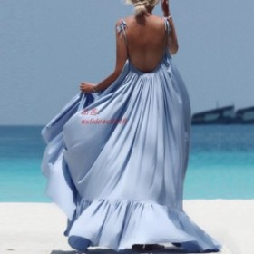 レディースサマードレス新ブランド自由奔放に生きる固体マキシセクシーなノースリーブロング背中 ドレスイブニングパーティービーチドレ