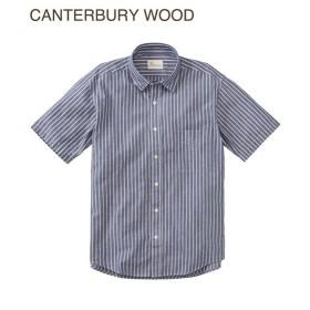 シャツ カジュアル メンズ CANTERBURY WOOD カンタベリーウッド ヒッコリーストライプ柄 半袖 トップス M/L/LL ニッセン