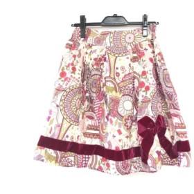 【中古】 ジェーンマープル Jane Marple スカート レディース アイボリー パープル マルチ リボン