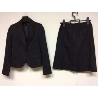 【中古】 クリアインプレッション CLEAR IMPRESSION スカートスーツ サイズ1 S レディース 黒 ストライプ