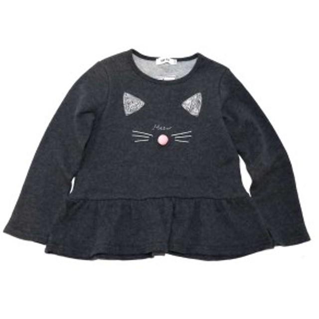 【30%OFF】SLAP SLIP スラップスリップ トレーナー 猫刺繍入り ヘムライン切替 子供服 キッズ 女児用 1807-97002 チャコールグレー