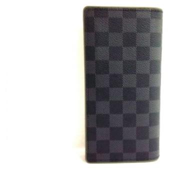 【中古】 ルイヴィトン 長財布 ダミエグラフィット 美品 ポルトフォイユ・ブラザ N63269 カーキ