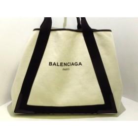 【中古】 バレンシアガ BALENCIAGA トートバッグ ネイビーカバM 339936 白 黒 キャンバス レザー