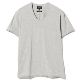 BEAMS / 天竺 カットオフ Uネック Tシャツ メンズ Tシャツ TOP GREY XL