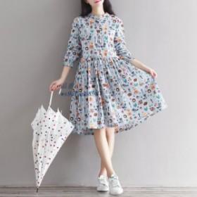 ドレス春風ロング服ヘッジホッグ アライグマストライプドレス。を増加サイズ 女性 dres