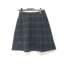 【中古】 フランシュリッペ スカート サイズM レディース ネイビー グリーン マルチ チェック柄