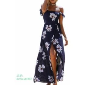 エレガントなオフショルダー自由奔放に生きる花柄ドレスセクシーな背中 ビーチマキシロングスプリットパーティードレス Vestidos