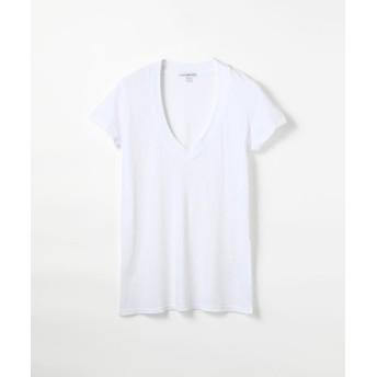 トゥモローランド ベーシック VネックTシャツ WMJ3930 レディース ホワイト 2(L) 【TOMORROWLAND】