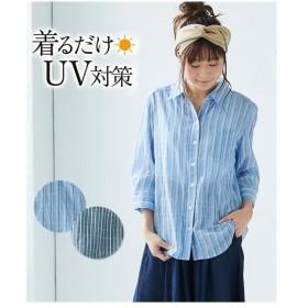 レディース UV加工ウエーブ加工7分袖スキッパー シャツ  M/L ニッセン