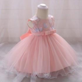 30acea23d32d9 花柄刺繍 チュール ドレス 子供ドレス きれいめ パール 真珠 ピンク ...