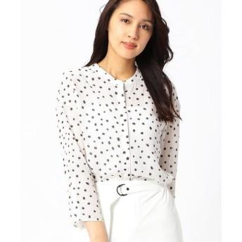 COMME CA / コムサ シャドーストライプドットプリントノーカラーシャツ