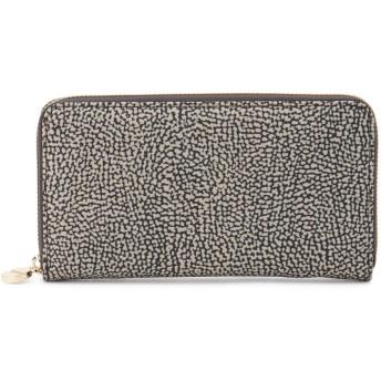 BORBONESE ラウンドファスナー サイフ 財布,ブラウン