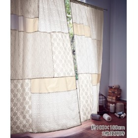 コラージュパッチワークのボイルカーテン