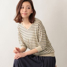 【エムピー ストア(MP STORE)】 リネンVネックニット ベージュ