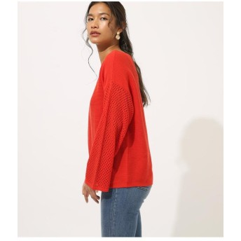 【50%OFF】 アズールバイマウジー CROCHET SLEEVE KNIT TOPS レディース RED M 【AZUL BY MOUSSY】 【セール開催中】