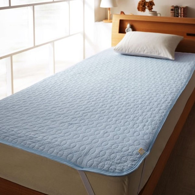 布団カバー シーツ 敷きパッド パッドシーツ くったりやわらかな綿100%ガーゼのウォッシュ敷きパッド カラー 「ブルー」