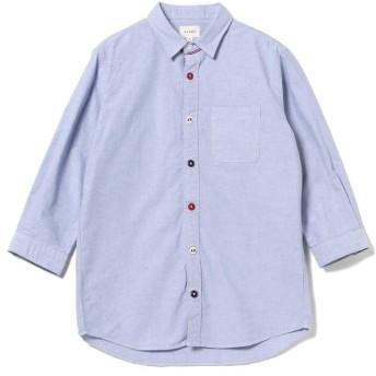 【40%OFF】 ビームス メン BEAMS / トリコロール パラシュートボタン 7分袖 シャツ メンズ BLUE M 【BEAMS MEN】 【セール開催中】