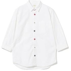 【40%OFF】 ビームス メン BEAMS / トリコロール パラシュートボタン 7分袖 シャツ メンズ WHITE S 【BEAMS MEN】 【セール開催中】