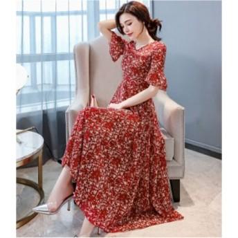 ロングワンピース 大きいサイズ 春 夏 半袖 ドレス 花柄 ワンピース ロング マキシ お呼ばれ フレアレディース ワンピース 3051