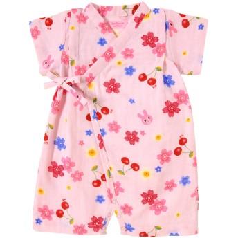 ミキハウス 二重織ガーゼ さくら柄キャビットちゃん甚平オール ピンク