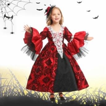 ハロウィン 女王様 ヨーロッパ風 お姫様 吸血鬼 ヴァンパイア 貴族 ドレス 子供キッズ XS-L コスプレ衣装 ps3634