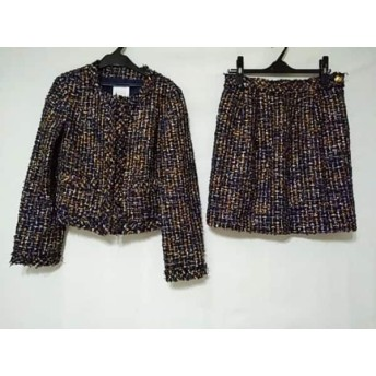 【中古】 クミキョク スカートスーツ サイズ3 L レディース ネイビー ライトブラウン マルチ ツイード