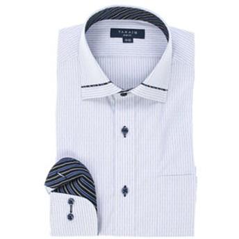 【TAKA-Q:トップス】形態安定スリムフィット ワイドカラー衿切替長袖ビジネスドレスシャツ