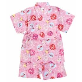 甚平 ベビー 赤ちゃん 女の子 綿100% 日本製生地 水風船柄 じんべい スーツ上下 祭 甚平 部屋着 寝まき パジャマ 子供甚平 90cm 95cm