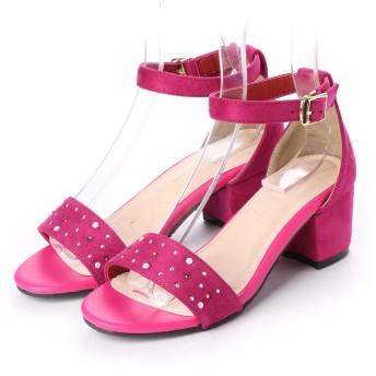 プライベートレーベル PRIVATE LABEL glitter ホットフィックスアンクルストラップサンダル (ピンク)
