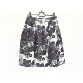 【中古】 アマカ AMACA スカート サイズ36 S レディース 黒 白 パープル 花柄