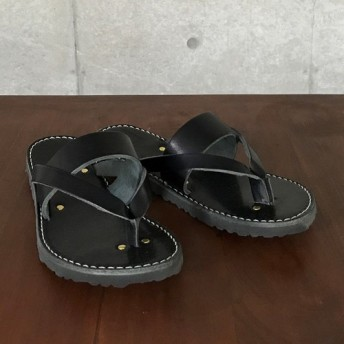 (Men's) LEATHER FLIP-FLOP / Black / PLUSON SHOE SUPPLY